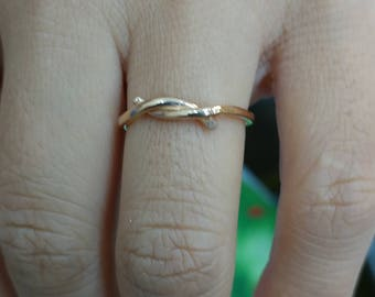 Twisted 14k Solid Gold Ring Promise Ring