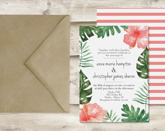 The Maui Wedding Invitation and RSVP Set, Tropical Wedding Invitations, Hawaii Wedding Invitations, Beach Destination Wedding Invitations