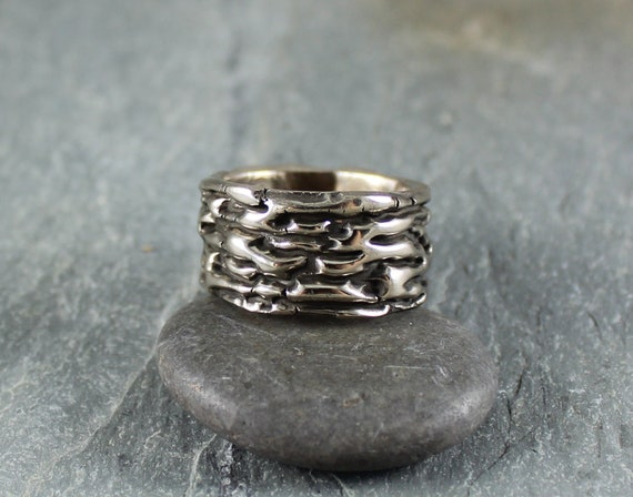 Running Water ~ White Bronze ring ~ Artisan Handcrafted