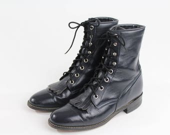 1970s/80s Navy Blue Justin Boots
