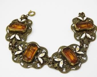 1920s Amber Czech Glass Art Deco Champleve Enamel Leaves Filigree Link Bracelet Neiger Style