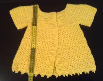 Crochet baby yellow sweater for girls