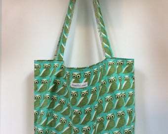Owl large reversible and reusable shopping bag