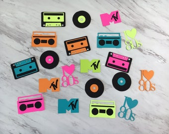 80's Themed cupcake toppers; I love the 80s; 80s party