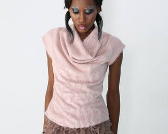 Pale pink angora wool cocoon sweater short sleeve