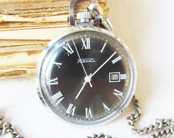 Rare Russian Pocket Watch Raketa with Chain Black Dial Men's pocket watch Working Soviet Vintage Mechanical watch,Retro watch USSR-80s