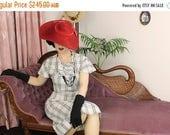 60% OFF SALE Vintage Dress 1930's 30's cotton  / Mildred / Authentic vintage reproduction / White Plaid 30s dress / XS S M L Xl