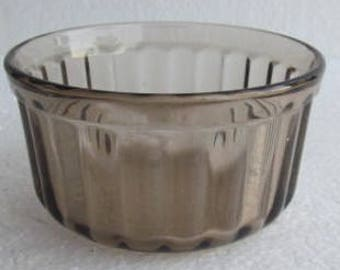 Vintage Arcopol (2) Light Brown Color Ribbed Collectible Glass Custard Bowls 4 oz USA