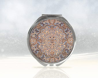 Geometric compact mirror, elegance purse mirror, round hand mirror, handbag mirror, small mirror, gift for her