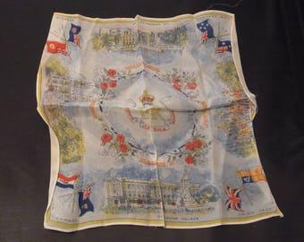 FREE SHIPPING Handkerchief Commemorating the Coronation of Queen Elizabeth II 1953 ladies Handkerchief Royal Collectable Handkerchief