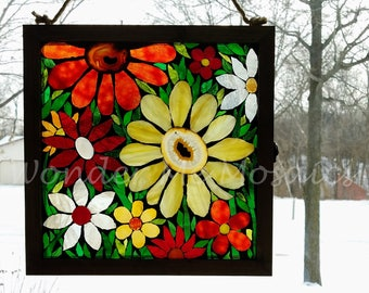 Stained Glass Mosaic - Garden of Sunrise-Colored Gemstone Flowers