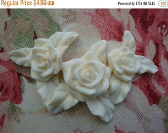 Sale 10% Shabby and Chic Triple Rose Furniture Applique Embellishment Onlay Mount