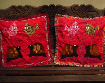 C-006 2 Guatemalan Huipil Pillow Covers  from Chichicastenango