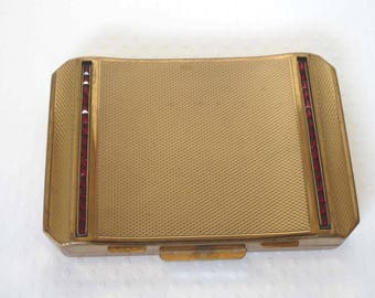 STRATTON Made in England Rectangular Gold Compact With Tiny Square Siam Rhinestone