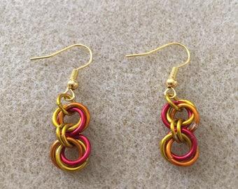 Fire Mobius Drop Earrings