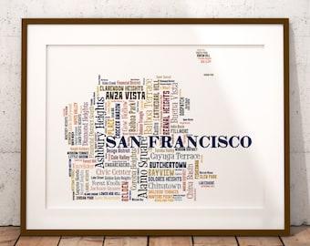 San Francisco Art, San Francisco Art Print, San Francisco Neighborhood Map, San Francisco Typography Art, San Francisco Poster Print