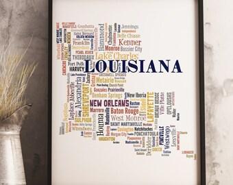 Louisiana Map Art, Louisiana Art Print, Louisiana City Map, Louisiana Typography Art, Louisiana Poster Print, Louisiana Word Cloud