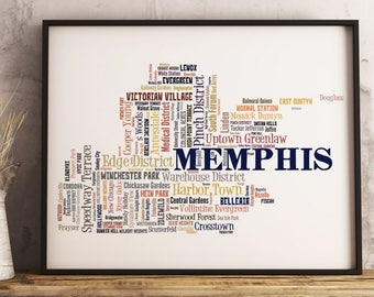 Memphis Map Art, Memphis Art Print, Memphis Neighborhood Map, Memphis Typography Art, Memphis Poster Print, Memphis Word Cloud
