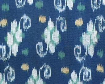 Handwoven Cotton Ikat, Blue, Gray, Green and Yellow; By the yard