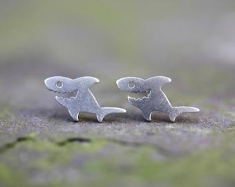 Shark studs earrings. silver studs, small earrings, animal studs, brighton, palomita jewellery, ocean, sea,