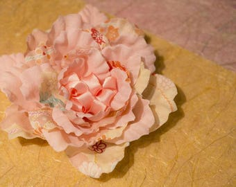 Japanese flower silk pink orange