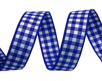 Gingham Plaid Ribbon 3 M Navy Blue and white 16 mm