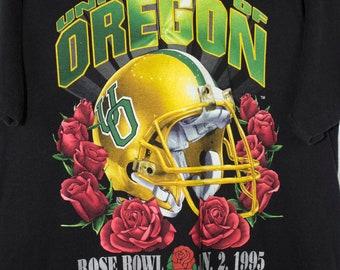 university of oregon rose bowl january 2 1995 t shirt - vintage 90s - state - college football - salem sportswear - ducks