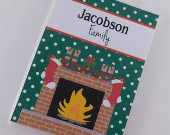 Christmas Photo Album 4x6 or 5x7 picture Family Holiday Brag Book Stocking Fireplace personalized Kitchen Recipe Card 811