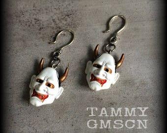 Hannya Mask earrings Horned Female Demon earrings Japanese Tattoo earring Oni Mask earrings  Kabuki earrings dangle earrings
