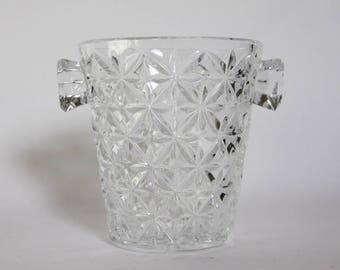Mid Century Crystal Ice Bucket, Home Bar,  Bar Cart Accessory,  Barware, Womancave, Mancave