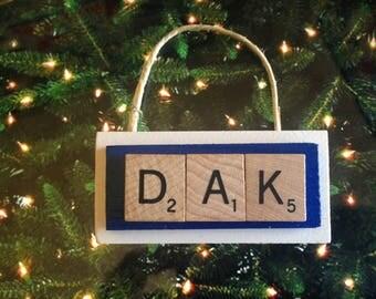 dak prescott dallas cowboys christmas ornament scrabble tiles
