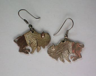 Silver tone Buffalo Bison Dangle Earrings Univ. of Colorado - 5380