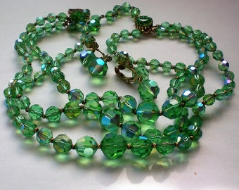 Triple Strand Green Glass Bead Necklace with Earrings - 5641