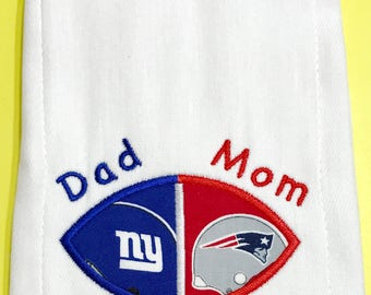 Personalized House Divided Baby Burp Cloth READY TO SHIP New York Giants New England Patriots