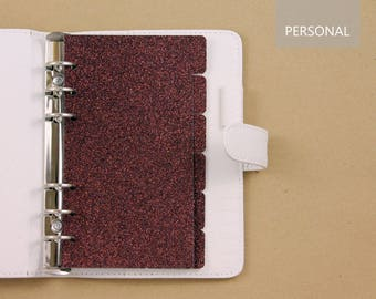 Filofax personal dividers, set of 6 planner dividers cardstock glittered color brown bronze