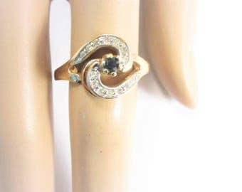 Vintage 14K GE ESPO Yellow Gold Plated Fashion Rhinestone Ring Size 9