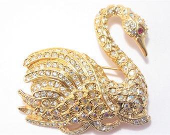 Vintage Nolan Miller Rhinestone Swan Brooch