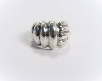 Vintage Chunky Ribbed Sterling Dome Ring Size 6