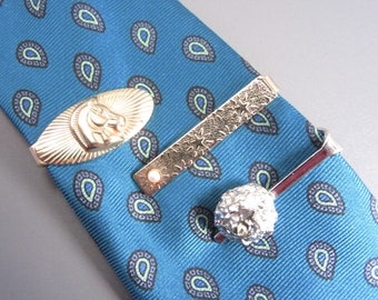 Three Vintage Skinny Tie Clips Lot of 3