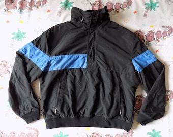 Vintage 80's Nike Blue Label half zip Fleece Lined Pullover Windbreaker, size Large Swoosh mismatched