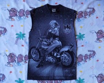 Vintage 90's American Biker cut off sleeve Muscle T shirt, size Small Harley Davidson biker motorcycle