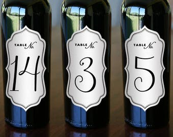 "Wine Bottle Brown Kraft Die Cut Labels - Table Numbers - Wine Bottle Table Numbers - 5"" x 2.5"""