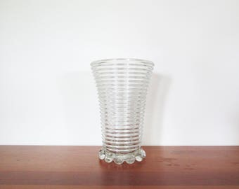 Anchor Hocking Manhattan Ribbed Bubble Footed Vase