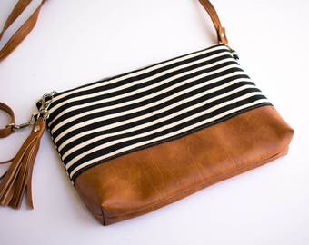 Faux Leather Bag, Minimalist Bag, Small Crossbody Purse, Hipster Bag, Striped Purse, Black and White