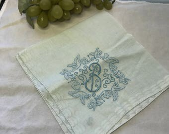 V273 Blue, embroidered handkerchief , B14x14 cotton,something blue, wedding,monogram