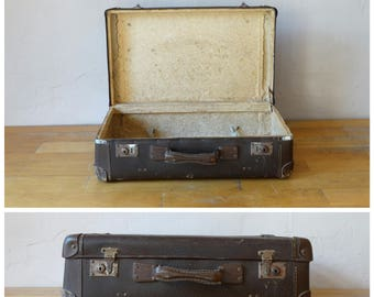 Antique Leather Suitcase, Old Train Case, Leather Valise, Luggage, Suitcase Table, Travel Trunk, Old Cardboard Suitcase, Brown Suitcase
