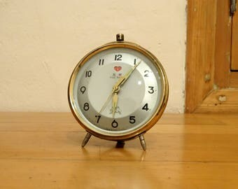 Five Rams Clock, Retro Clock, Antique Alarm Clock, Desk Clock, Old Metal Clock, Office Clock, Table Clock, Mechanical Clock, Shelf Clock