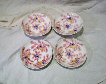 English Berry Bowls, Walker & Carter Feather Pattern Antique Bowls
