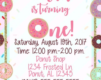Donut First Birthday Invitation **Digital File**