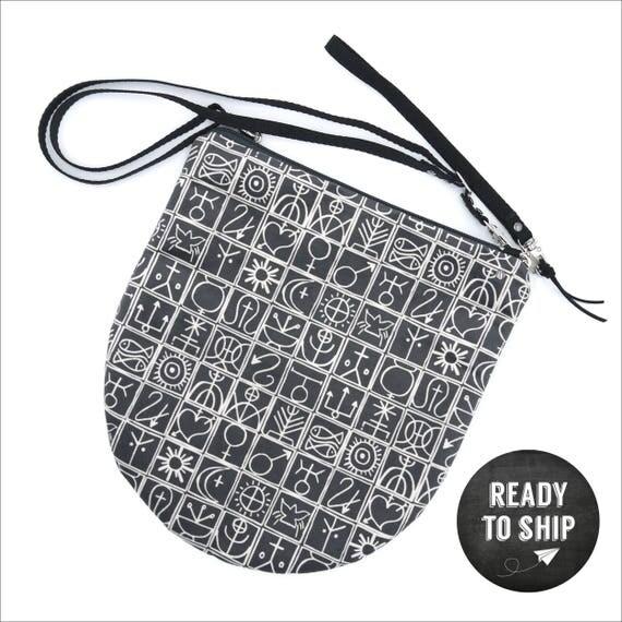 """Dark grey shoulder bag graphic """"Trulli"""", LARGE brushed Poly Pochette"""